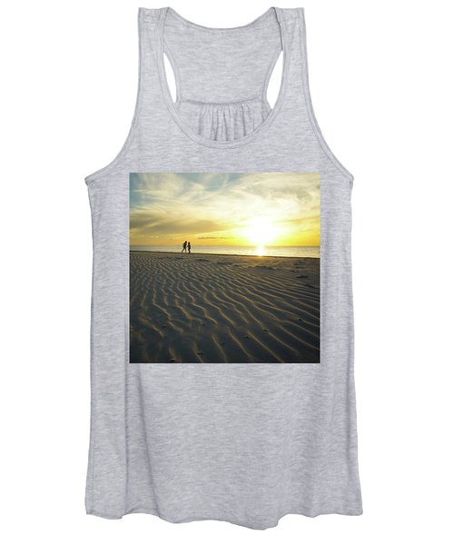 Beach Silhouettes And Sand Ripples At Sunset Women's Tank Top