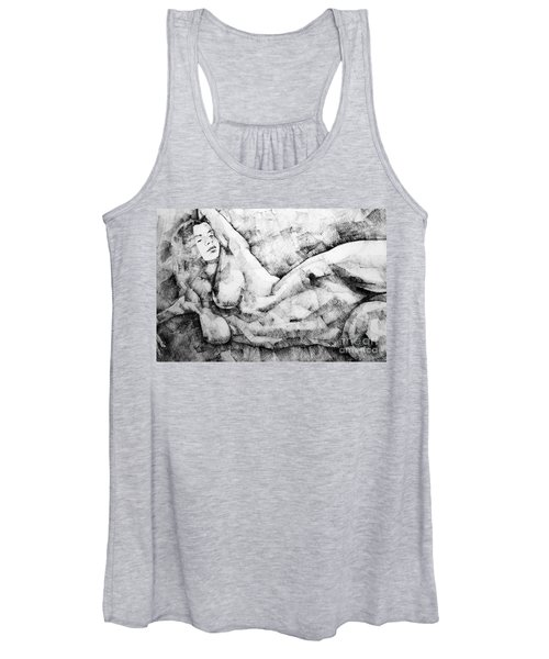 Beautiful Young Girl Pencil Art Drawing Women's Tank Top