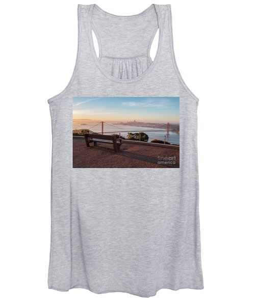 Bench Overlooking Downtown San Francisco And The Golden Gate Bri Women's Tank Top