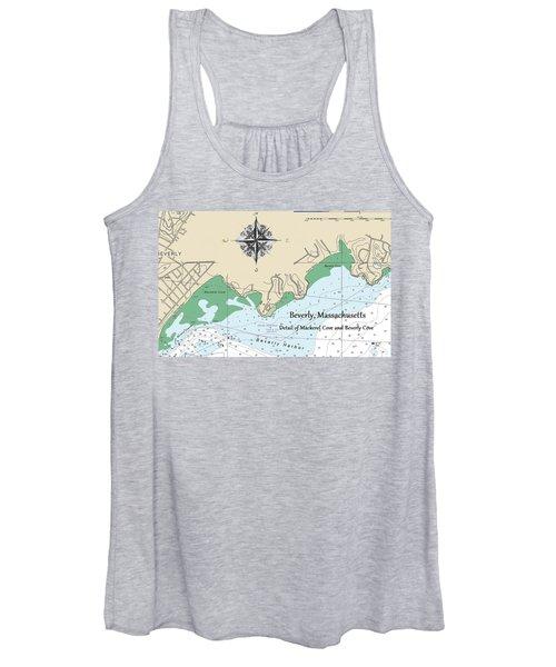 Beverly Cove Nautical Map Women's Tank Top