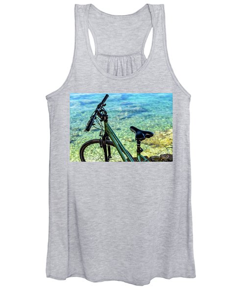 Bicycle By The Adriatic, Rovinj, Istria, Croatia Women's Tank Top