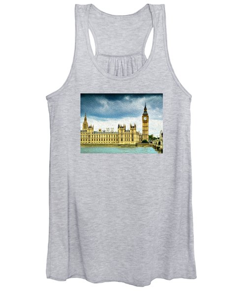 Big Ben And Houses Of Parliament With Thames River Women's Tank Top