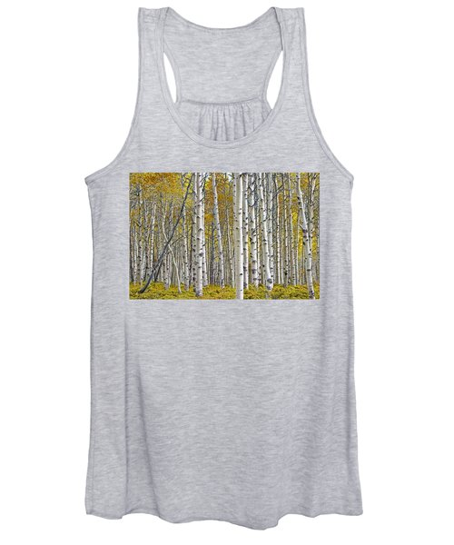 Birch Tree Grove With A Touch Of Yellow Color Women's Tank Top