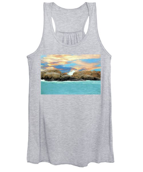 Birds On Ocean Rocks Women's Tank Top