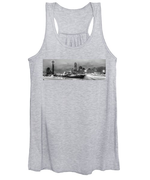 Black And White Panorama Of Downtown Dallas Skyline From South Houston Street - Dallas North Texas Women's Tank Top