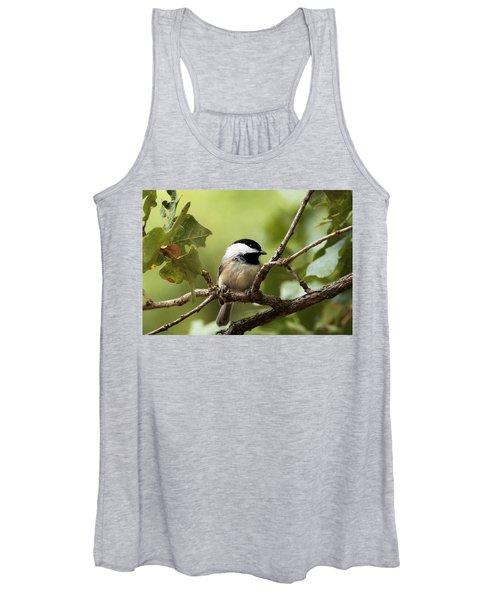 Black Capped Chickadee On Branch Women's Tank Top