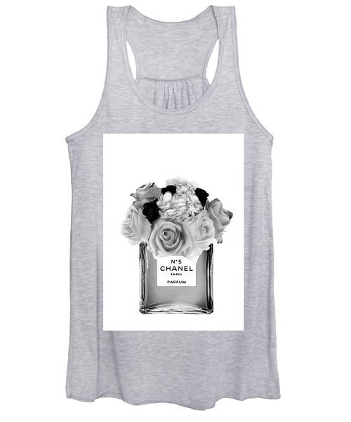 Black Chanel No.5 With Black Roses Women's Tank Top