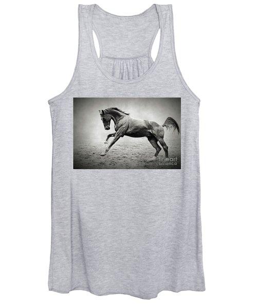 Black Horse In Dust Women's Tank Top