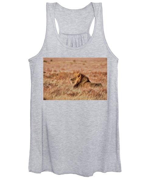 Black-maned Lion Of The Kalahari Waiting Women's Tank Top
