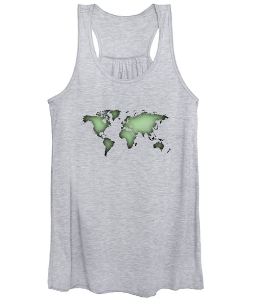 Black Worldmap Over Backlight  Women's Tank Top