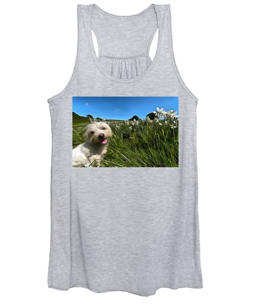 Blooming Daffodils In The Antola Park With Maltese II Paint Women's Tank Top