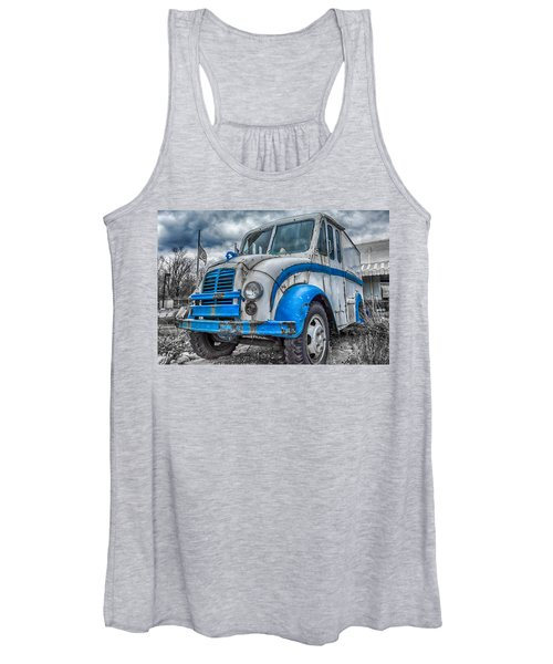 Blue And White Divco Women's Tank Top