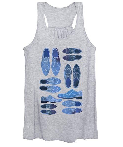 Blue Brogue Shoes Women's Tank Top