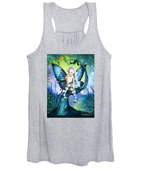 Blue Butterfly Fairy In A Tree Women's Tank Top