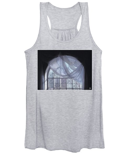 Hand-painted Blue Curtain In An Arch Window Women's Tank Top