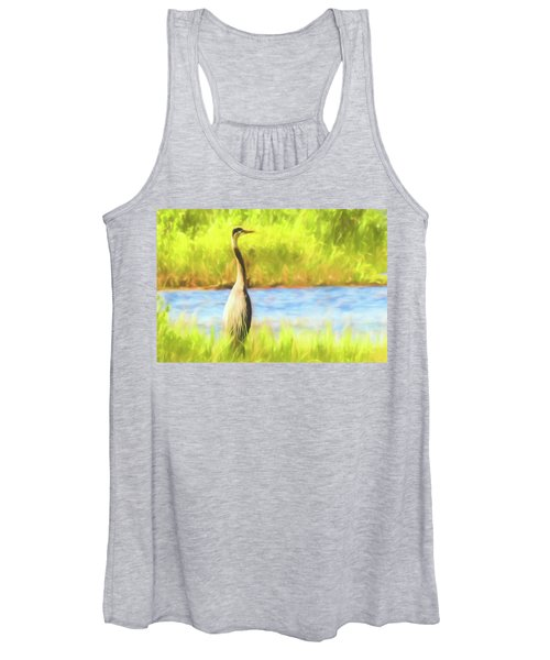 Blue Heron Standing Tall And Alert Women's Tank Top