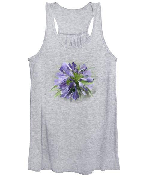 Blue Purple Flowers Women's Tank Top