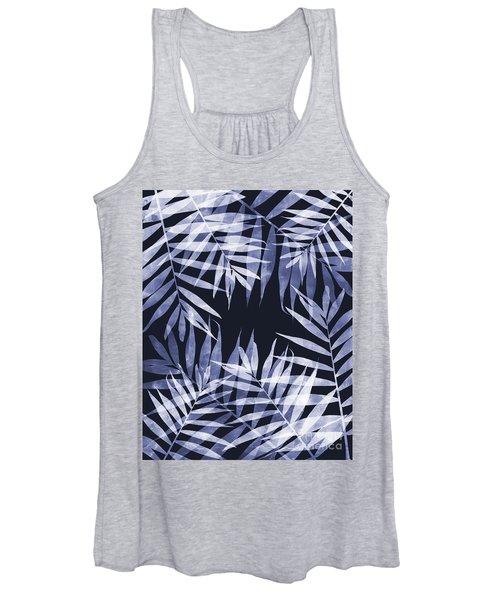 Blue Tropical Leaves Women's Tank Top