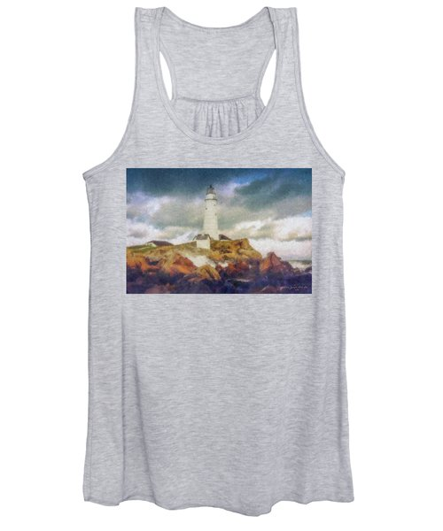 Boston Light On A Stormy Day Women's Tank Top