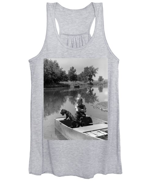 Boy With Dog In Fishing Boat Women's Tank Top