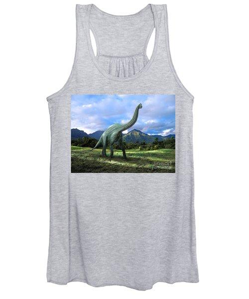 Brachiosaurus In Meadow Women's Tank Top