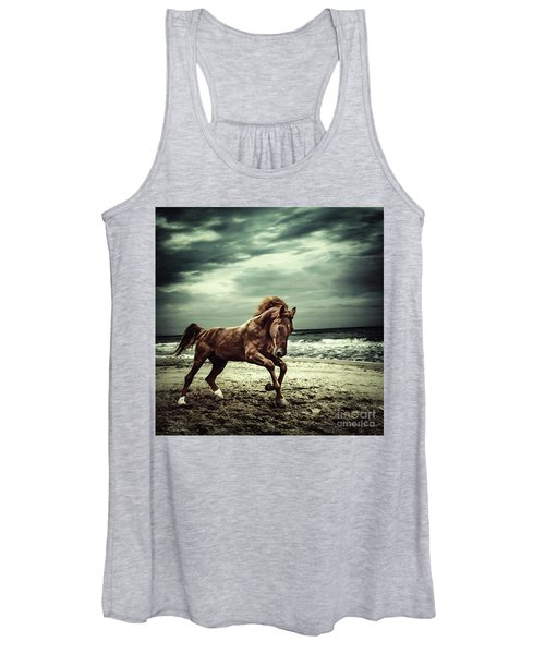 Brown Horse Galloping On The Coastline Women's Tank Top