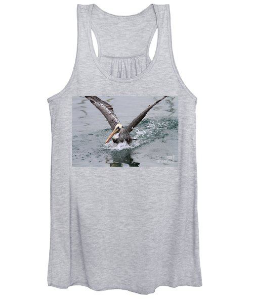 Brown Pelican Landing On Water . 7d8372 Women's Tank Top