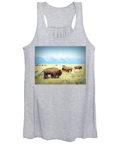 Buffalo Roam, Smokey Grand Tetons, Wyoming Women's Tank Top