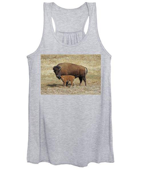 Buffalo With Newborn Calf Women's Tank Top