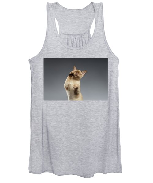 Burma Cat Paws Snout Covers On Gray Women's Tank Top