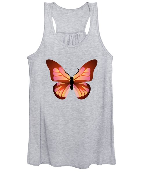 Butterfly Graphic Pink And Orange Women's Tank Top