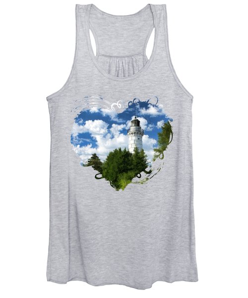 Cana Island Lighthouse Cloudscape In Door County Women's Tank Top