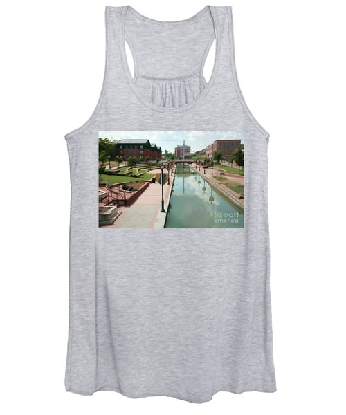 Carroll Creek Park In Frederick Maryland With Watercolor Effect Women's Tank Top