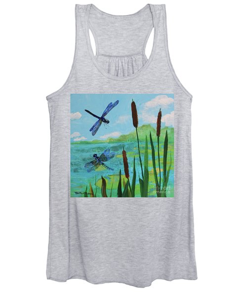 Cattails And Dragonflies Women's Tank Top