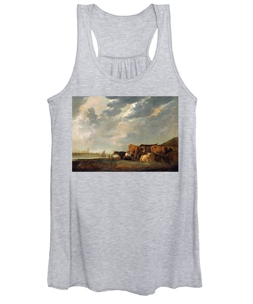 Cattle Near The Maas, With Dordrecht In The Distance Women's Tank Top