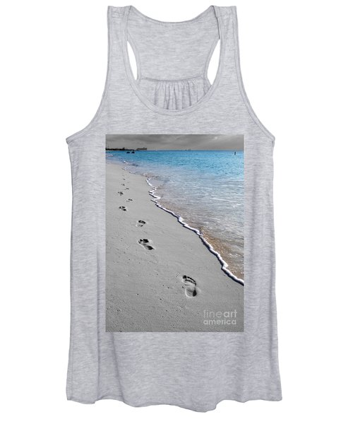 Cayman Footprints Color Splash Black And White Women's Tank Top