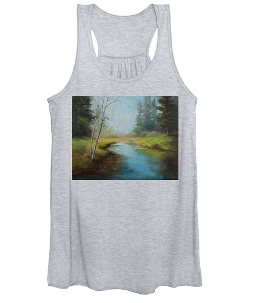 Cerulean Blue Stream Women's Tank Top