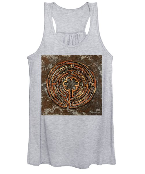 Chartres Style Labyrinth Earth Tones Women's Tank Top