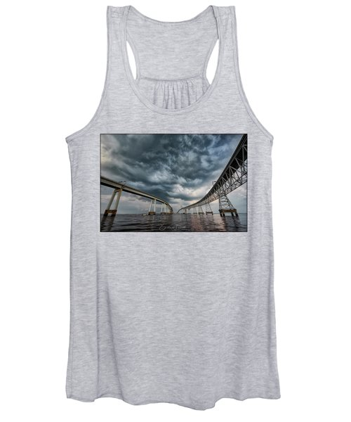 Chesapeake Bay Bridge Storm Women's Tank Top