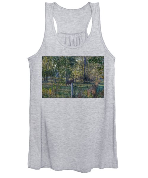 1009 - Chestnut Horse Among The Trees Women's Tank Top