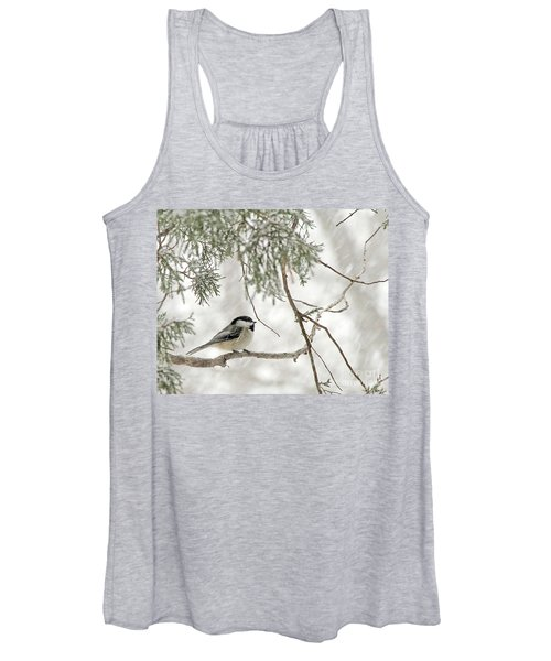 Chicadee In A Snow Storm  Women's Tank Top