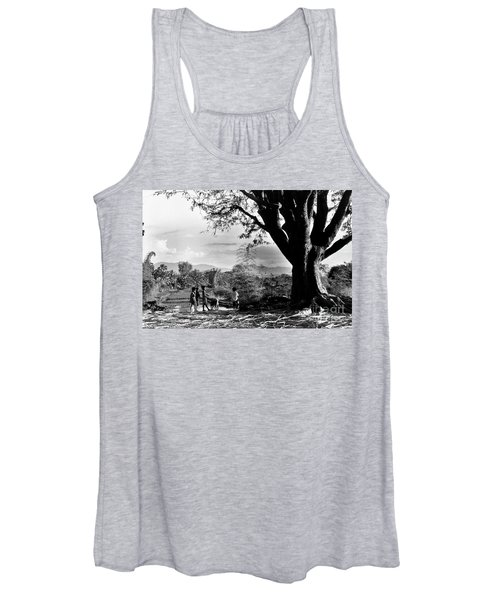 Children Of Central Highland Are Playing With A Dog Women's Tank Top