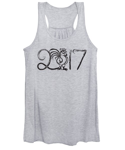 Chinese New Year Rooster Ink Brush Illustration Women's Tank Top