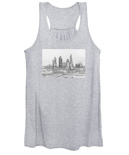 City Of London Outline Poster Bw Women's Tank Top