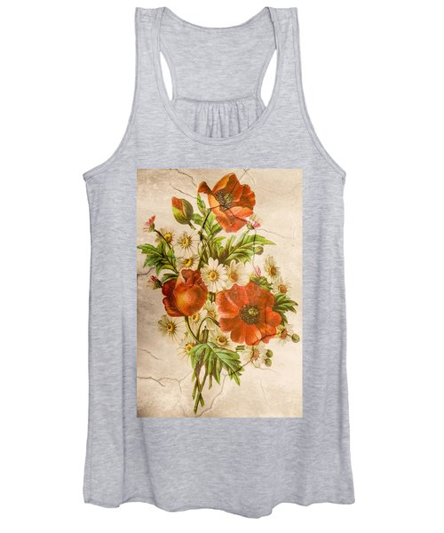 Classic Vintage Shabby Chic Rustic Poppy Bouquet Women's Tank Top
