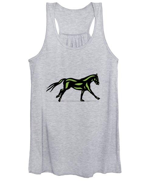 Clementine - Pop Art Horse - Black, Geenery, Hazelnut Women's Tank Top