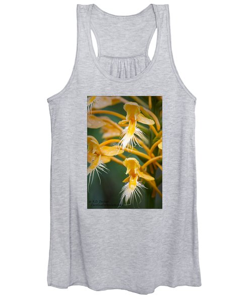 Close-up Of Yellow Fringed Orchid Women's Tank Top