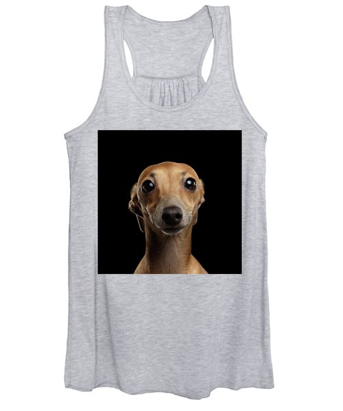 Closeup Portrait Italian Greyhound Dog Looking In Camera Isolated Black Women's Tank Top