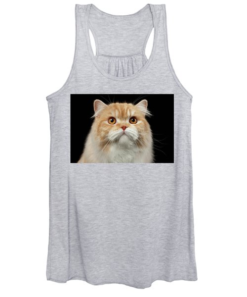 Closeup Portrait Of Red Big Persian Cat Angry Looking On Black Women's Tank Top