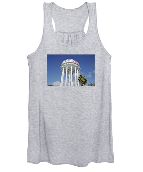 Cocoa Water Tower With American Flag Women's Tank Top